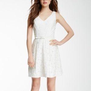 Trina Turk Kianna white floral v neck lace dress